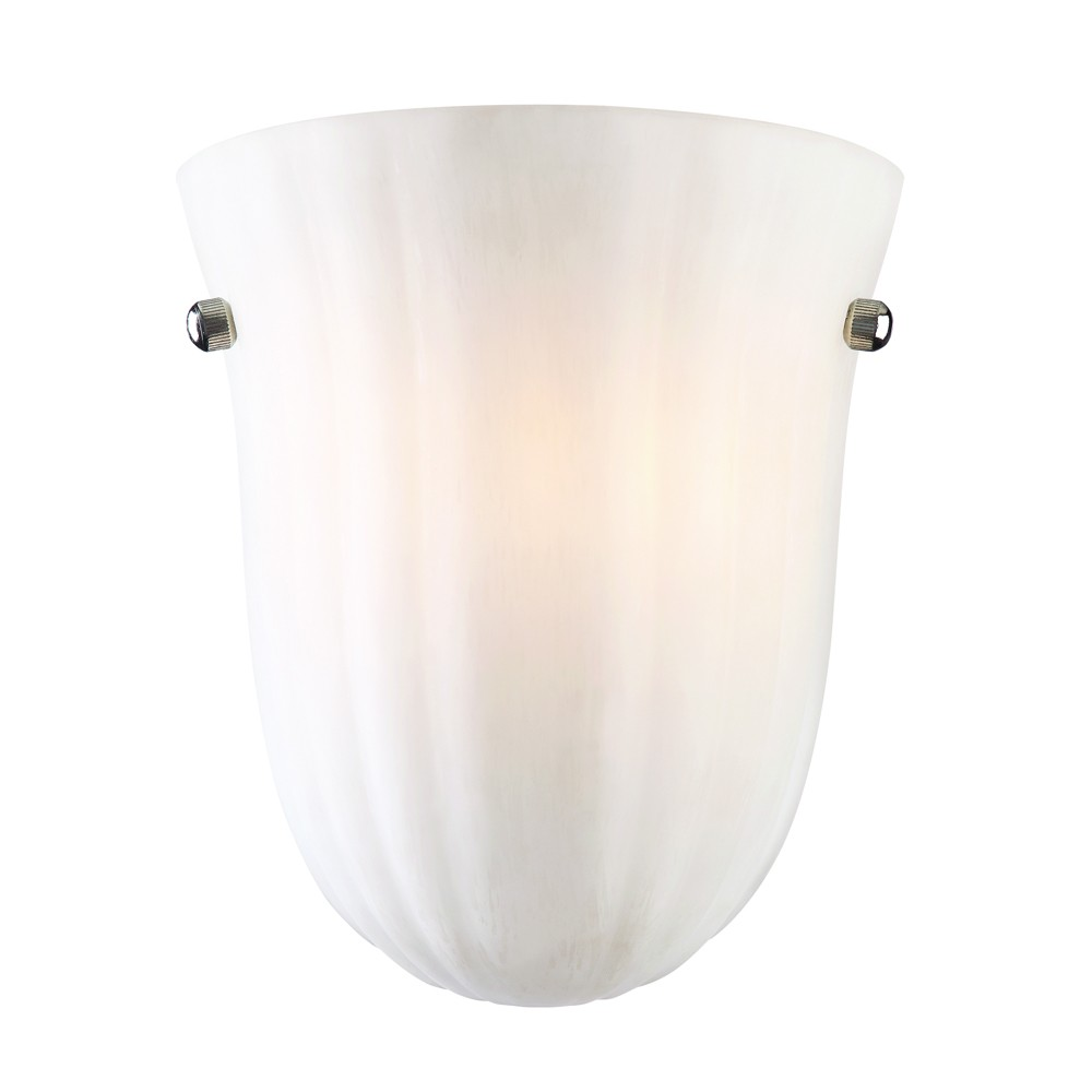 """Baronne Satin Nickel Frosted Glass Wall Sconce Light 7""""Wx8""""H"""