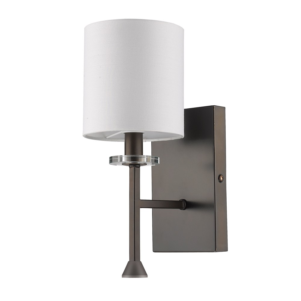 Wall Sconces With Drum Shade : Kara Oil Rubbed Bronze Drum Shade Wall Sconce 5