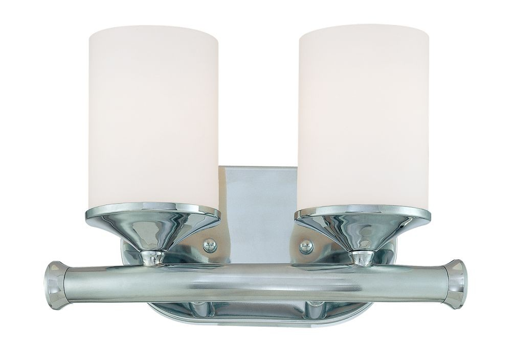 Chrome Bathroom Wall Light Etched White Drum Glass 11