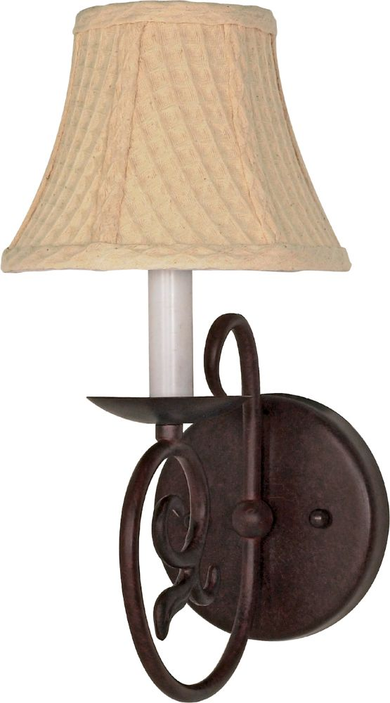 Bronze Wall Sconce With Fabric Shade : Tapas Old Bronze & Fabric Shade Sconce Light 6