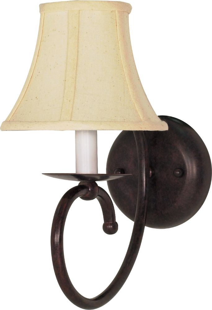 Bronze Wall Sconce With Fabric Shade : Mericana Old Bronze & Fabric Shade Sconce Light 25