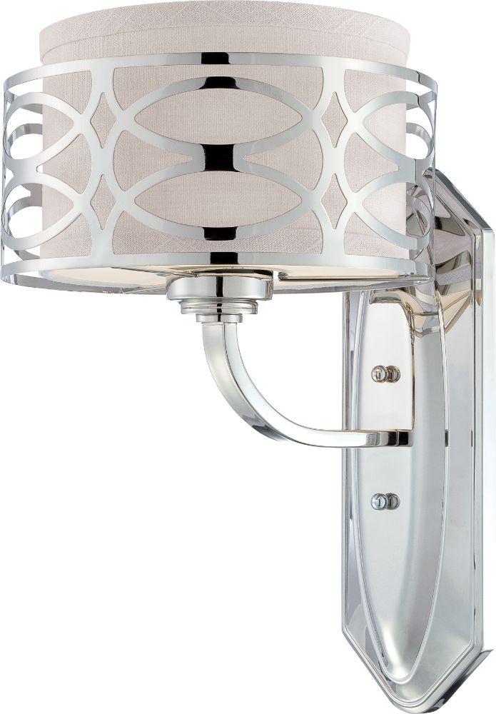 Wall Sconces With Drum Shade : Harlow Polished Nickel & Drum Shade Sconce Light 9