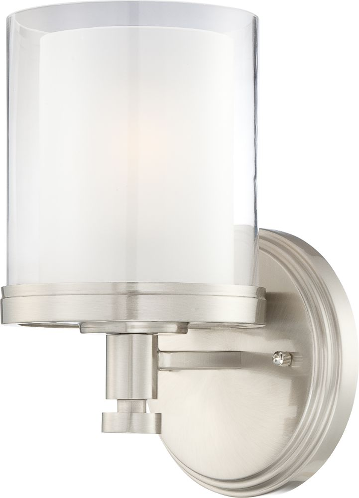 Decker Brushed Nickel Drum Dual Glass Wall Sconce Light 6
