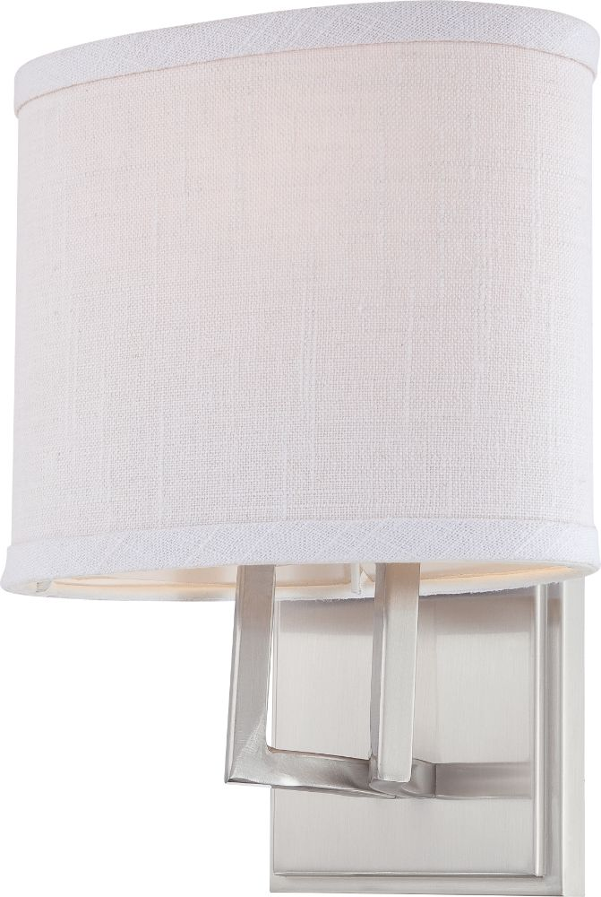 """Gemini Brushed Nickel Oval Shade Wall Sconce Light 8""""Wx10""""H - Sale !"""