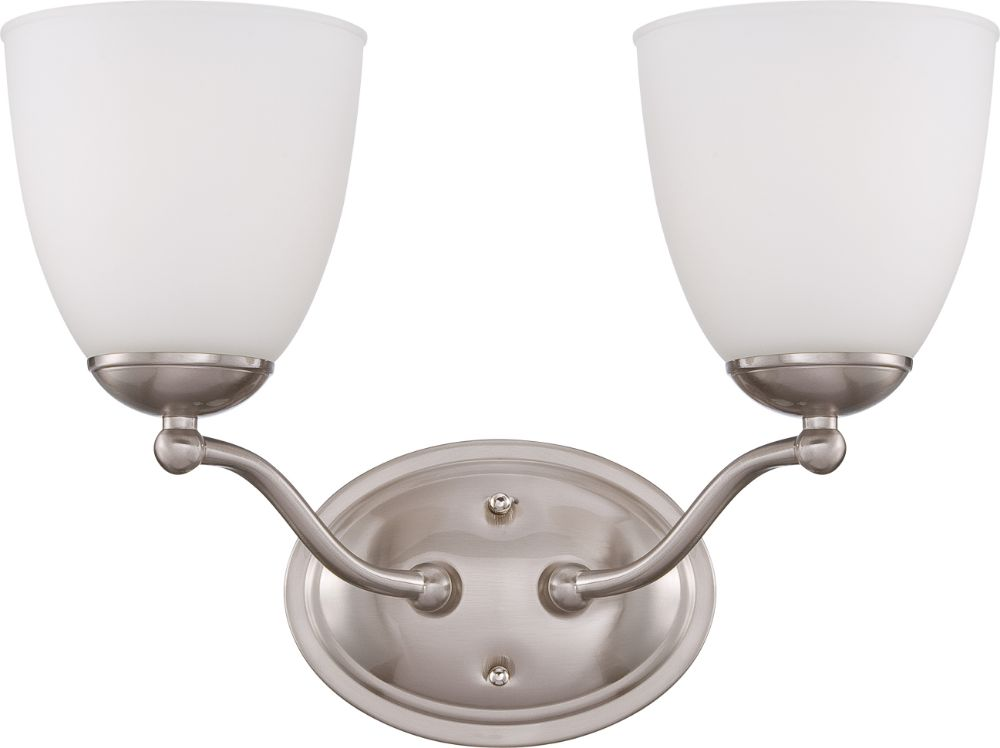 Patton Brushed Nickel Wall Light Glass Shades 15 Quot Wx10 Quot H