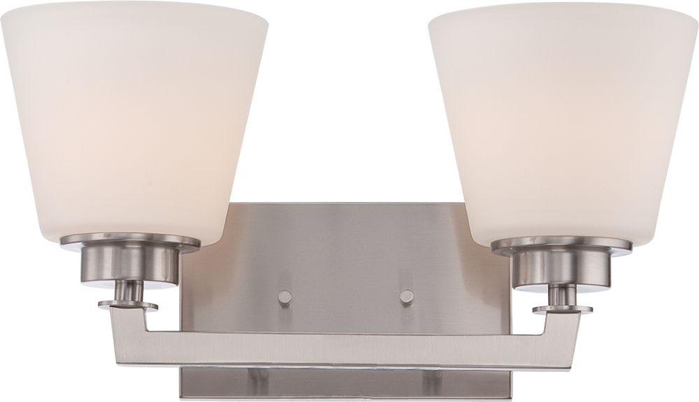"Galaxy Lighting 4 Light Barclay Bathroom Vanity: Mobili Brushed Nickel Flared Glass Drum Wall Light 15""Wx8""H"