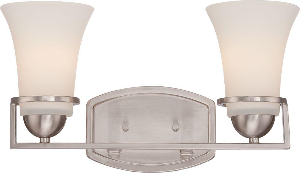 "Galaxy Lighting 4 Light Barclay Bathroom Vanity: Neval Brushed Nickel White Glass Wall Light 15""Wx9""H"