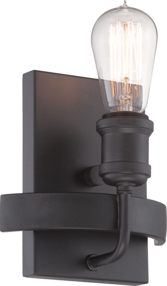 vanity or wall sconce light with classic edison bulbs in aged bronze. Black Bedroom Furniture Sets. Home Design Ideas