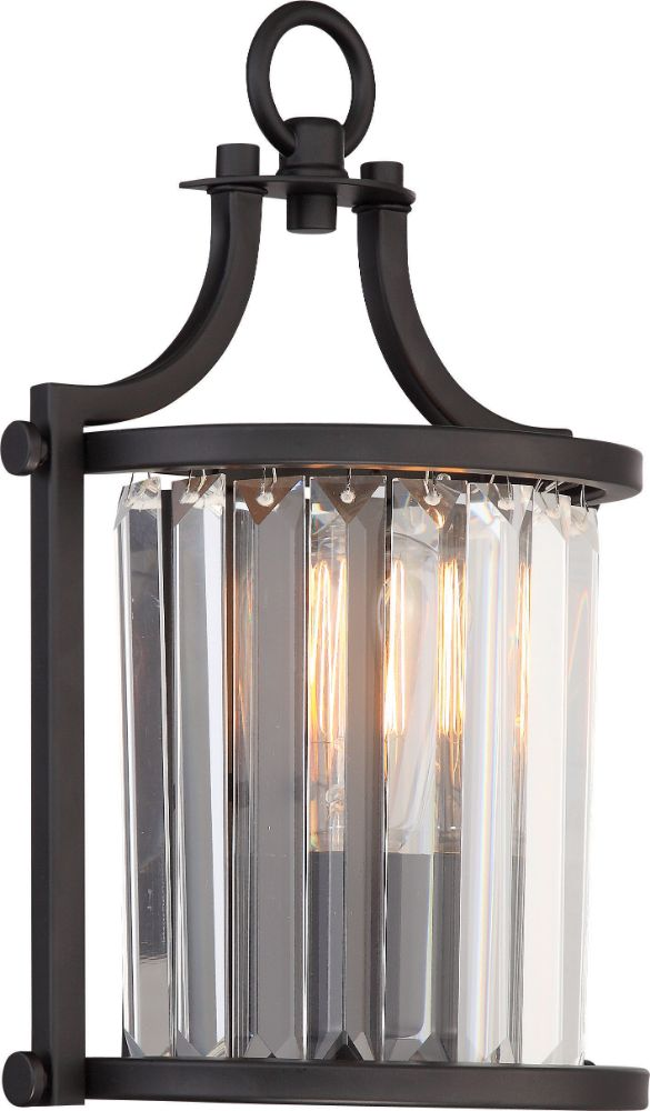 Krys Aged Bronze Crystal Wall Sconce Light 8wx13h