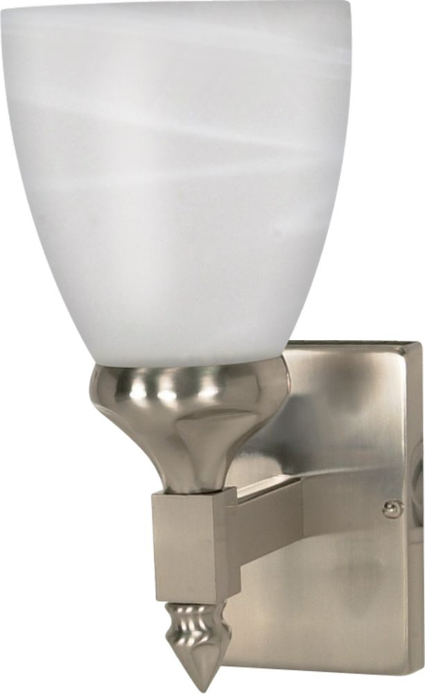 Plug In Wall Sconce Glass Shade : Triumph Brushed Nickel & Glass Shade Sconce Light 5