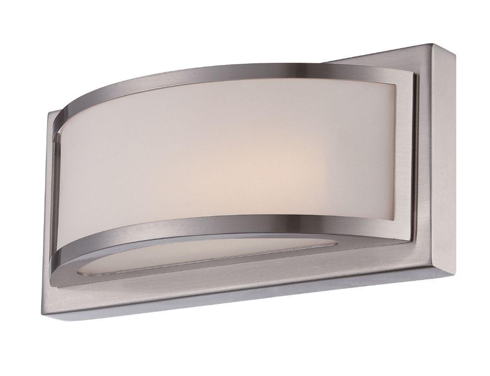 "Galaxy Lighting 4 Light Barclay Bathroom Vanity: Mercer LED Brushed Nickel & Glass Sconce Light 10""Wx4""H"
