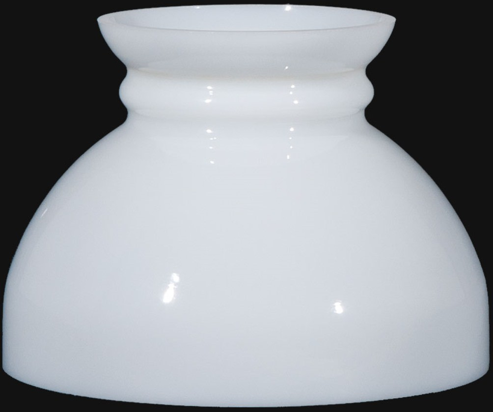 "Plain Top White Hurricane Glass Lamp Shade 6"" Fitter"