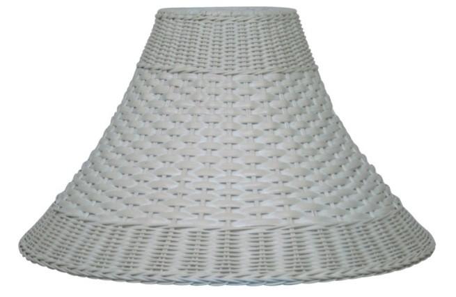"Whitewash Bell Dual Weave Wicker Lamp Shade 12.5-20""W"