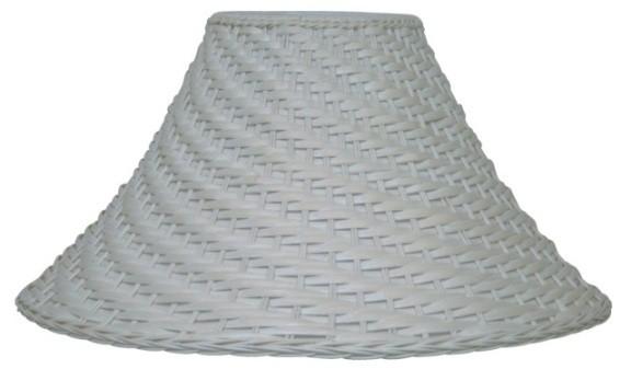 "Whitewash Bell Coolie Wicker Rattan Lamp Shade 20""W"