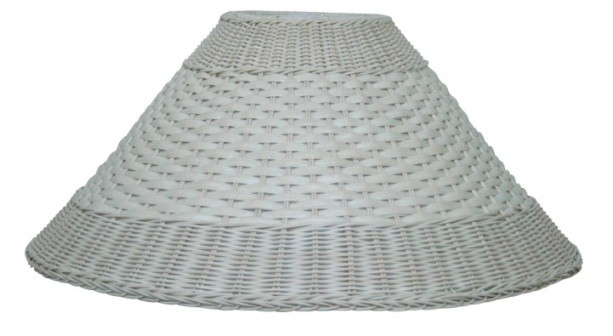 "Whitewash Coolie Dual Weave Wicker Lamp Shade 21""W"