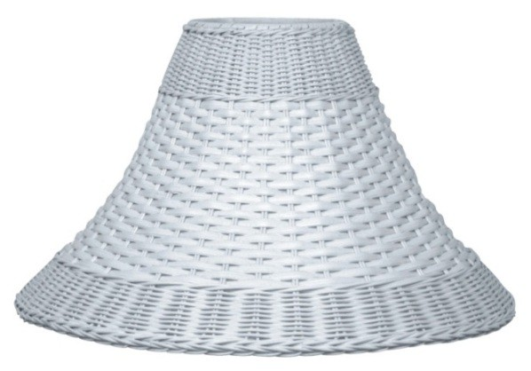 "White Dual Weave Bell Wicker Lamp Shade 12.5-20""W"
