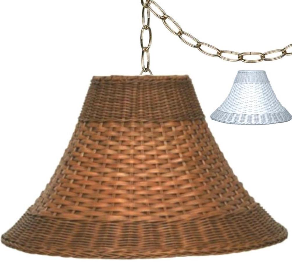 "Wicker Swag Lamp Brown or White 15-20""W"