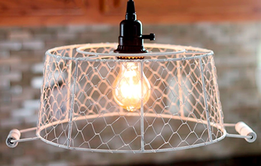 Ivory Chicken Wire Basket Swag Lamp Lamp Shade Pro