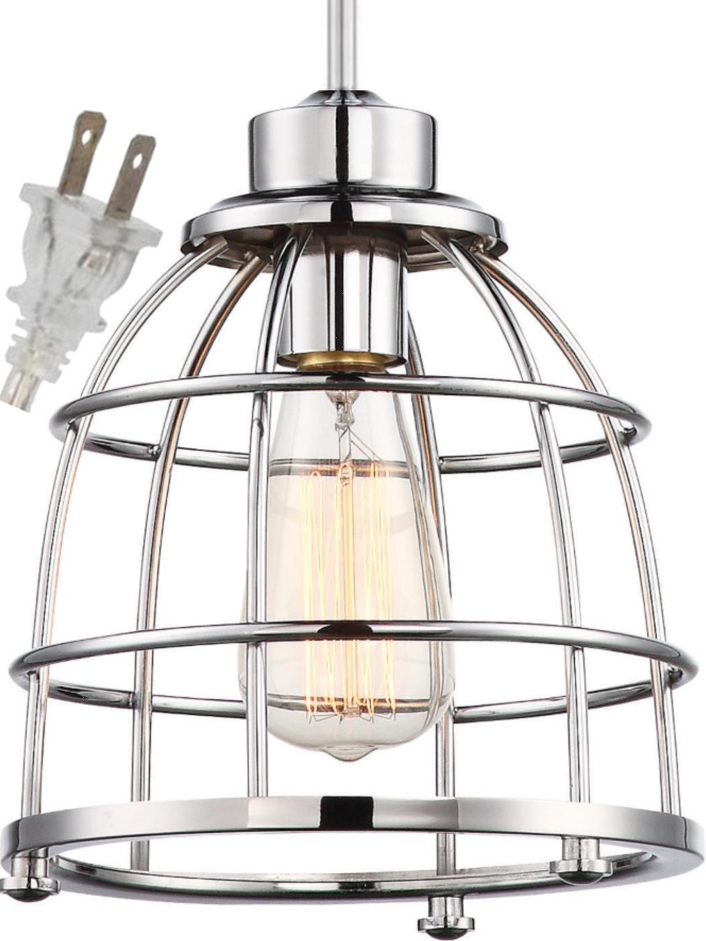 "Polished Nickel Wire Cage Plug In Industrial Pendant Light 8""W"