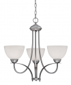 """Austin Brushed Pewter Chandelier White Etched Glass 23""""Wx22""""H"""
