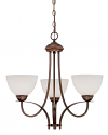"""Austin Brushed Bronze Chandelier White Etched Glass 23""""Wx22""""H"""