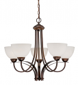 """Austin Brushed Bronze Chandelier White Etched Glass 27""""Wx23""""H"""