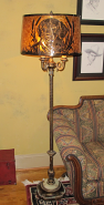 6 Way Lamp w/Custom Mica Shade - Jim's Beloved Gracie Dog
