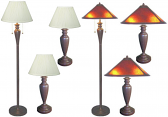 3 Piece Lamp Set Pleated or Mica Shades