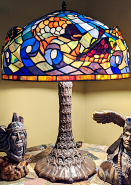 """3D Fish Swimming in Waves Tiffany Lamp 26""""H"""