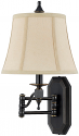 "Bronze Swing Arm Wall Lamp Silk Shade 20""Hx11""W - Sale !"