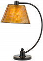 "Bronze Iron & Mica Desk Lamp Curved Arm Adjustable 24""H - Sale !"