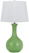 "Green Ceramic Table Lamp White Linen Drum Shade 29""H - Sale !"