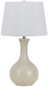 "Cream Ceramic Table Lamp White Linen Drum Shade 29""H - Sale !"