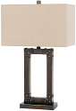 "Bronze Iron Table Lamp Rectangle Linen Shade 29""H - Sale !"