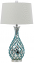 "Aqua Blue Table Lamp Linen Drum Shade 29""H - Sale !"