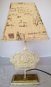 "Metal Kings Crown Lamp Wood Base Printed Burlap Shade 19""H - Sale !"