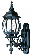 "Black Outdoor Wall Lantern Clear Seeded Glass 6""W x 20.5""H - Sale !"
