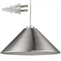 "Alcove Satin Nickel Plug In Pendant Light 13""Wx7""H"