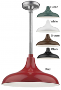 "Aluminum RLM Pendant Light 5 Colors Indoor-Outdoor 14-17""W"