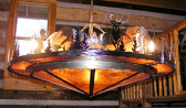 "Elk, Moose, Bear, Trees Mica Metal Chandelier 16 Lights 48""Wx18""H"