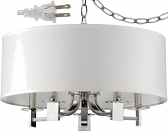 "Andrea Polished Nickel White Drum Plug In Pendant Light 20""Wx13""H"