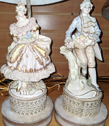 """Vintage French Courtier Lamps 22""""H"""