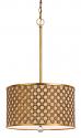 """Antique Gold Drum Pendant Light 16""""W"""