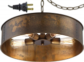 "Antique Metal Drum Plug In Pendant Light 20""W"