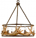"Antler Chandelier Wrought Iron Drum Shape 26""Wx31""H"