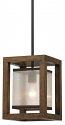"Bronze Iron Wood Sheer Pendant Light 8""W"