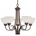 "Austin Brushed Bronze Chandelier White Etched Glass 27""Wx23""H"