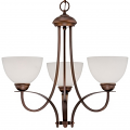 "Austin Brushed Bronze Chandelier White Etched Glass 23""Wx22""H"