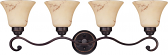 "Anastasia ORB Bronze Marble Glass Wall Light 33""Wx10""H"