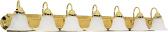 "Ballerina Polished Brass Bathroom Light Alabaster Glass 48""Wx8""H"